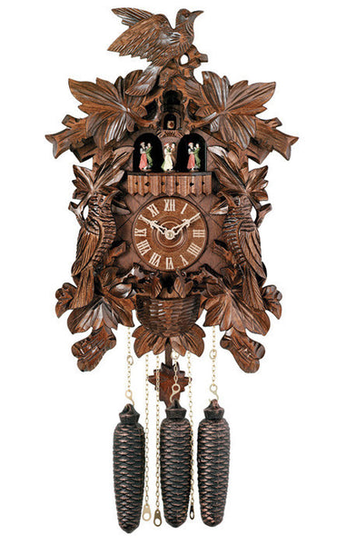 River City Clocks Eight Day Musical Cuckoo Clock with Leaves Birds and Nest
