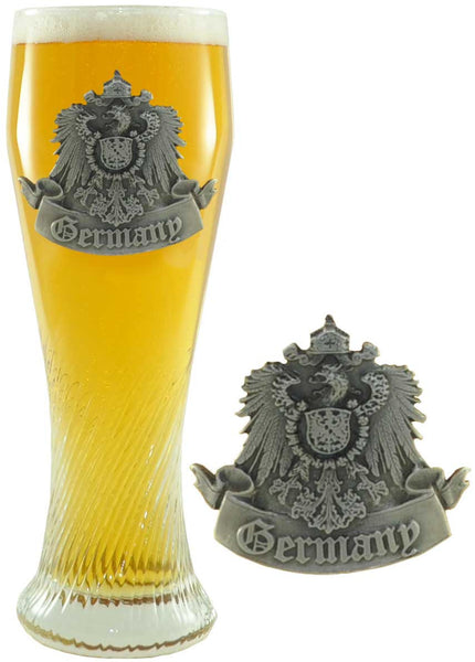 1/2 Liter Pilsner Glass with Germany Pewter Badge