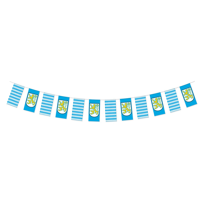 Oktoberfest Bavarian Check Pennant Flag Banner 12 Feet - 10' x 12', Banners, Below $10, Blue, Blue/White/Yellow, Hanging Decorations, Oktoberfest, Plastic, PS- Oktoberfest Decorations, PS- Oktoberfest Essentials-All OKT Items, PS- Oktoberfest Hanging Decor, PS- Oktoberfest Table Decor, PS-Party Supplies, Tableware, White
