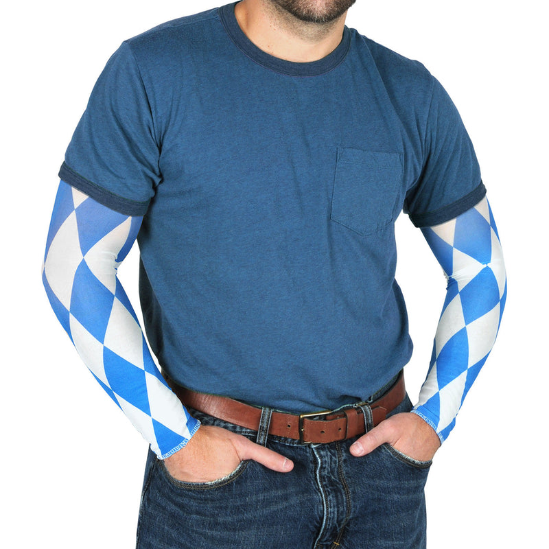 Oktoberfest Party Bavarian Check Costume Sleeves - Below $10, Blue/White, Mens, Multi-Color, Oktoberfest, One Size, PS- Oktoberfest Decorations, Top-OFST-B