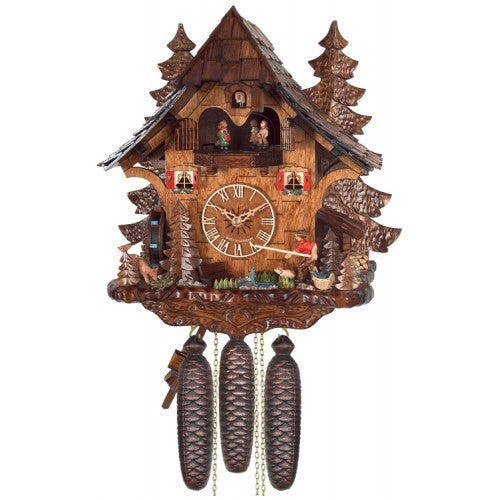 Eight Day Musical Cuckoo Clock Cottage - Fisherman Raises Pole And Moving Waterwheel