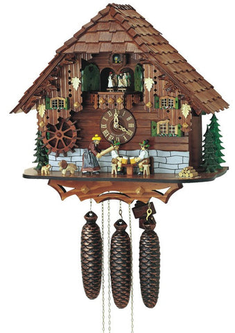 Eight Day Musical Cuckoo Clock - The Noodle Bruiser - Wife Strikes Beer Drinker Husband With Rolling Pin