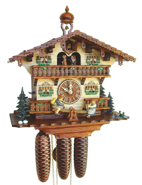 Eight Day Musical Cuckoo Clock Cottage With Boy And Girl On Seesaw