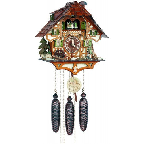 Eight Day Musical Cuckoo Clock With Hunter Moving With Binoculars And Waterwheel