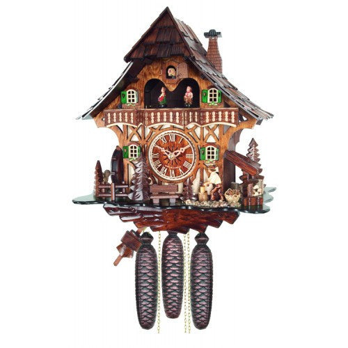 Eight Day Musical Cuckoo Clock Cottage With Woodchopper And Waterwheel