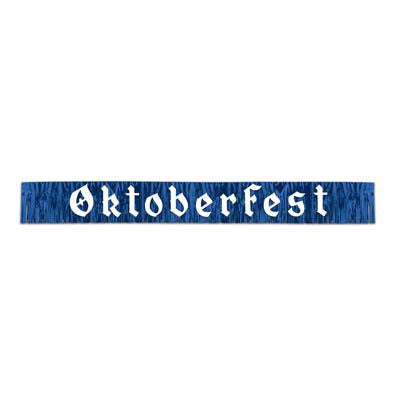 7.5 Foot Oktoberfest Fringed Metalic Banner Party Decorations - $10 - $20, Banners, Blue/White, Hanging Decorations, Oktoberfest, PS- Oktoberfest Decorations, PS- Oktoberfest Essentials-All OKT Items, PS- Oktoberfest Hanging Decor, PS- Oktoberfest Table Decor, PVC, Tableware