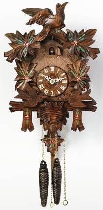 River City Clocks One Day Moving Birds Cuckoo Clock with Painted Flowers