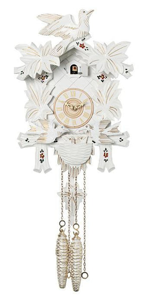 River City Clocks One Day Moving Birds Cuckoo Clock with White Finish