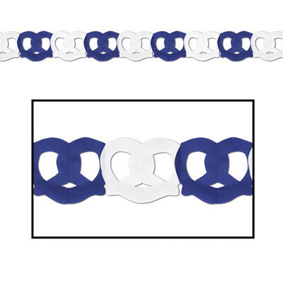 Pretzel Garland Oktoberfest Party Accessory - Below $10, Blue/White, Hanging Decorations, Oktoberfest, Paper, PS- Oktoberfest Decorations, PS- Oktoberfest Essentials-All OKT Items, PS- Oktoberfest Hanging Decor, PS- Oktoberfest Table Decor, Tableware