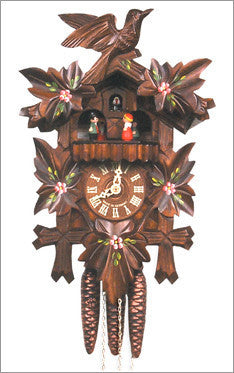 Black Forest 1-Day German Cuckoo Clock with Leafs in Walnut Finish
