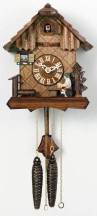 One Day Chalet Style Authentic Hand-Carved Beer Drinker German Cuckoo Clock 9