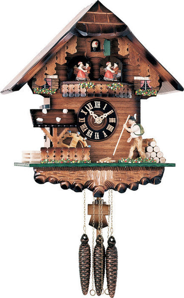 River City Clocks One Day Musical Cuckoo Clock with Volksmarcher with Moving Staff and Waterwheel