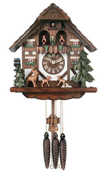 River City One Day Musical Cuckoo Clock with Moving Deer and Waterwheel