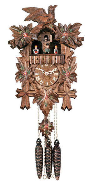River City Clocks One Day Musical Cuckoo Clock with Leaves Bird and Painted Flowers