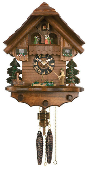 River City Clocks One Day Musical Cuckoo Clock with Fisherman Raising Fishing Pole