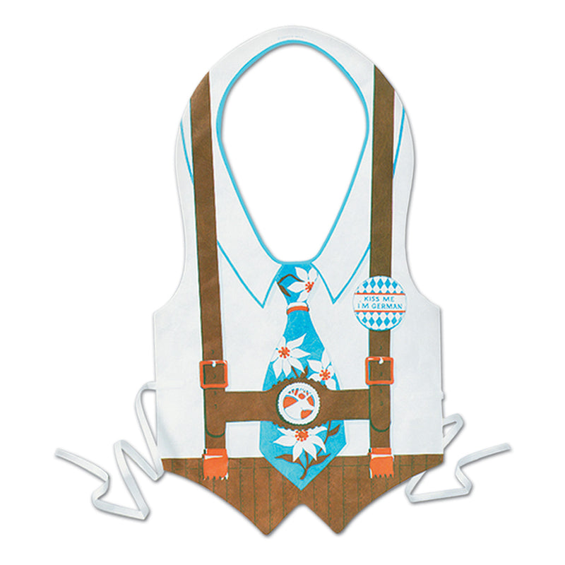 Oktoberfest Themed Plastic Lederhosen with Tie Vest - Apparel- Bibs, Below $10, Mens, Multi-Color, Oktoberfest, One Size, Plastic, PS- Oktoberfest Decorations