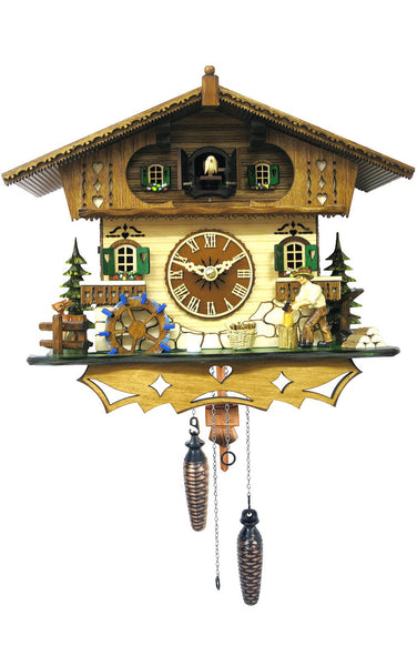 Black Forest Quartz Cuckoo Clock With Turning Waterwheel and Wood Chopper