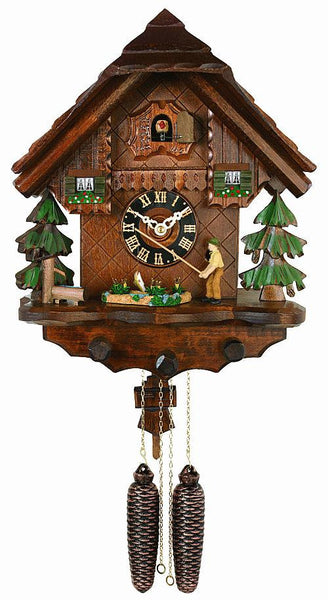 River City Clocks Eight Day Fisherman Raises Fishing Pole Cuckoo Clock