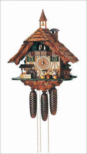 Schneider Black Forest 13 inches Musical Beer Drinkers and Bell Tower Eight Day Movement Cuckoo Clock - 8 Day, Above $100, Brown, Clocks- Cuckoo Clocks, Clocks-Wall, Collectibles, Home & Garden, Schneider, Wood