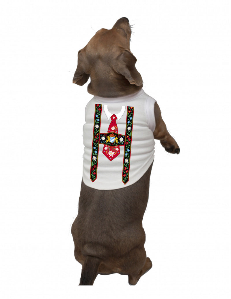 German Dog T Shirt: Lederhosen - Apparel- Costumes - German - Mens, Apparel- T Shirts, Apparel-Costumes, Apparel-Dogs, Apparel-Shirt-German, German, Germany, L, M, Size, Top-GRMN-B, White