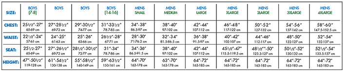 Worship: Men/ Boys Sizing