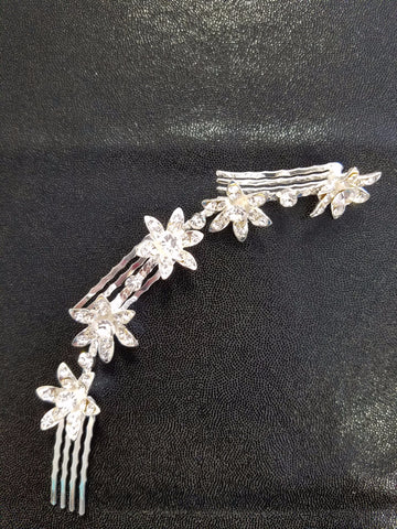 Large Multi Flower Rhinestone Hair Comb
