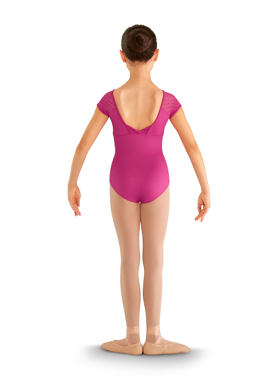 CL8192 Children's Heart Mesh Cap Sleeve Leotard