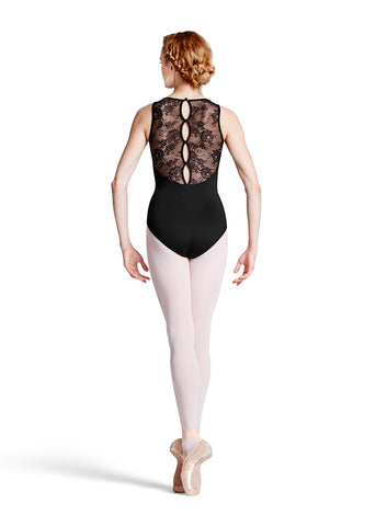 L8845 FRESIA Floral Lace Tank Button Back Adult Leotard