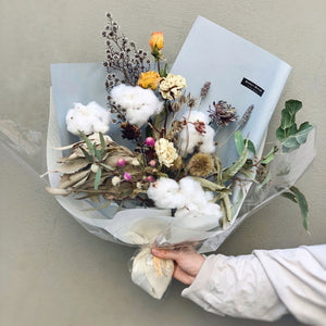 Snow White (Cotton & Dry Flower Bouquet)