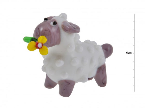 Glass Sheep with Flower