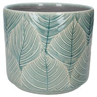 Blue Leaf Ceramic Pot Cover