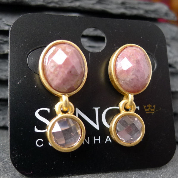 Rhodochrosite and Gold Earrings - cibola