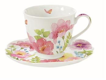 Watercolours Cup & Saucer - Set of 2