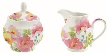 Watercolours Creamer & Sugar Bowl - cibola