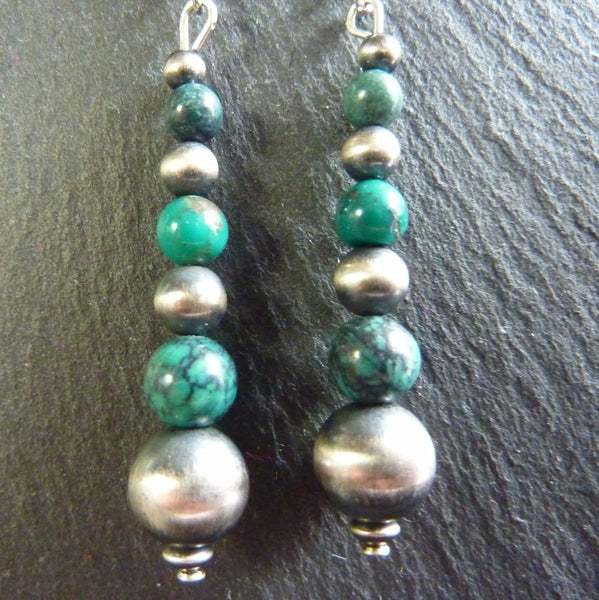 Satin Finish Turquoise Earrings - cibola