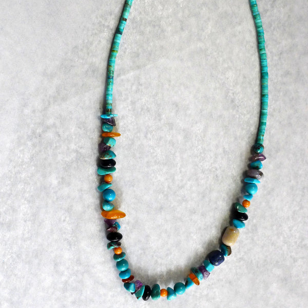 Treasure Bead & Turquoise Necklace - cibola