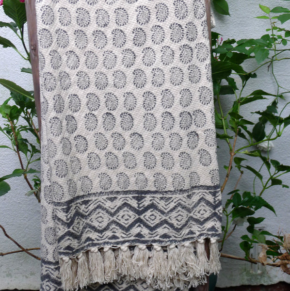 Blockprint Cotton Throw with Tassels - cibola