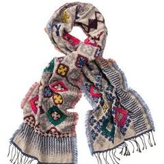 Diamond Pattern Acrylic/Wool Scarf - cibola