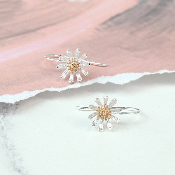Silver Daisy Earrings with Gold Centre - cibola