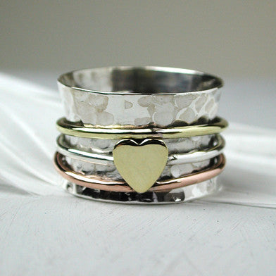 Spinning Ring With Single Brass Heart - cibola
