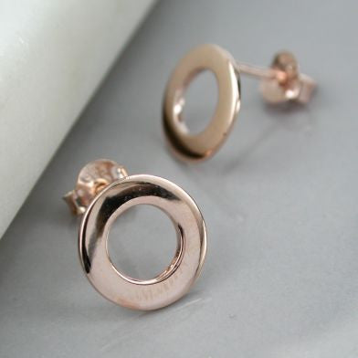 Rose Gold Open Circle Stud Earrings - cibola
