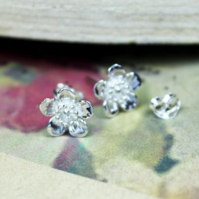 Sterling Silver Flower Stud Earrings - cibola