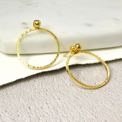 Gold Plated Hoop and Stud Earrings - cibola