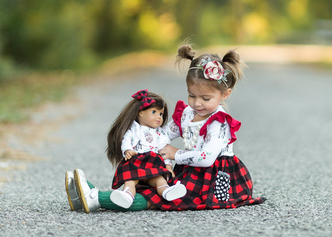 Holiday handmade dress Christmas Winter deer buffalo plaid flowermill dresses made in the USA