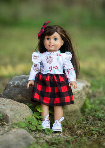 Buffalo plaid deer holiday winter doll match american girl bitty baby flowermill dresses made in the USA