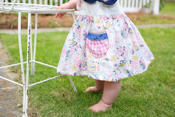 Panda floral gingham spring summer dress handmade by flowermill dresses in texas made in the USA dresses