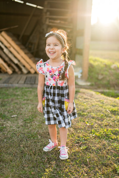 Black buffalo plaid hot pink floral knit spring summer dress made in texas flowermill dresses