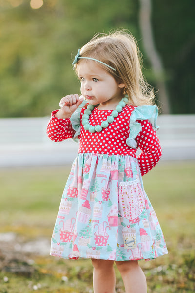 cupcake holiday christmas dress snowflakes candy canes handmade in texas america flowermill dresses