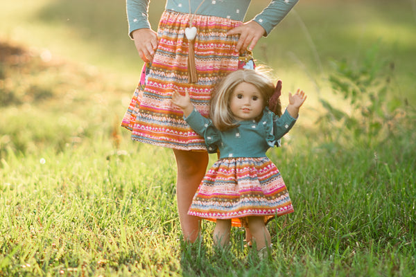 Fall handmade dress mustard green gray blush flowermill dresses made in america texas