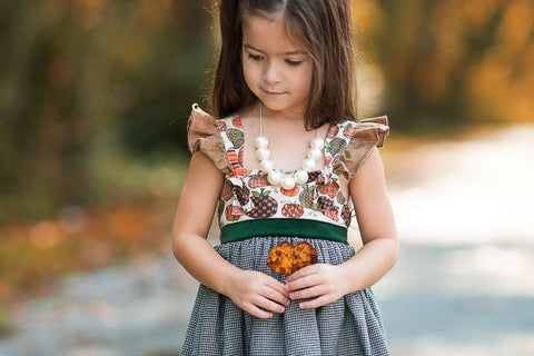 Pumpkin spice dress made in america flowermill dresses thanksgiving pumpkin patch velvet houndstooth floral pumpkin dress